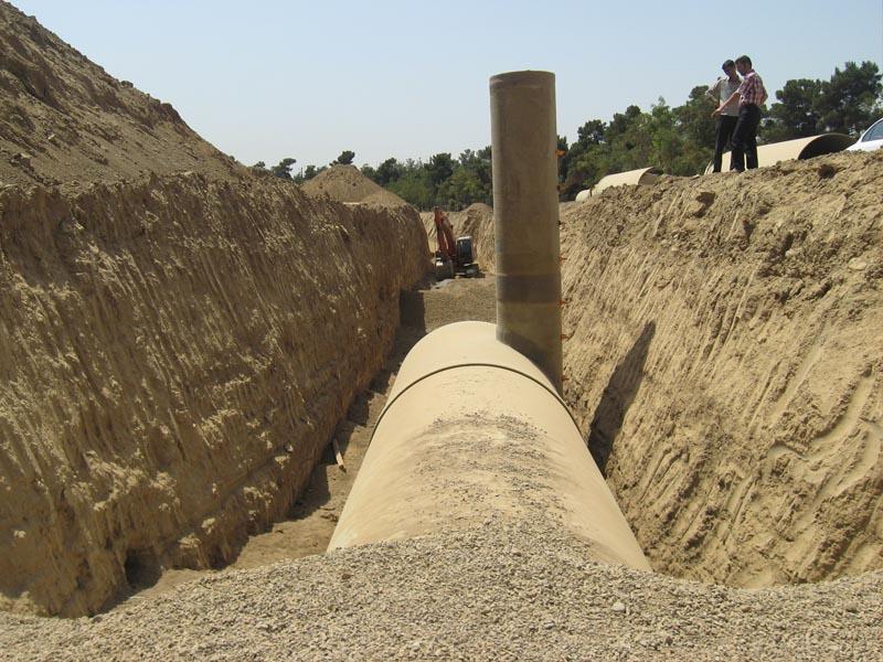 خطوط لوله جمعآوری و حوضچه تسکین سیلاب چیتگر